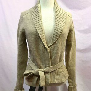 Theory Tan Cardigan Sweater Belted Wool Cashmere
